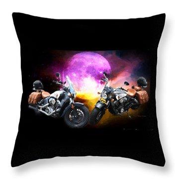 Moonlit Indian Motorcycle Throw Pillow