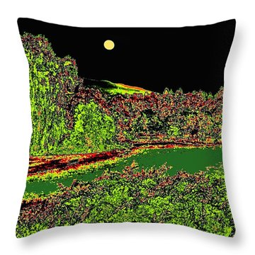 Moonlit Kaloya Park Throw Pillow