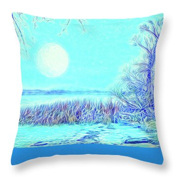 Throw Pillow featuring the digital art Moonlit Lake In Blue - Boulder County Colorado by Joel Bruce Wallach