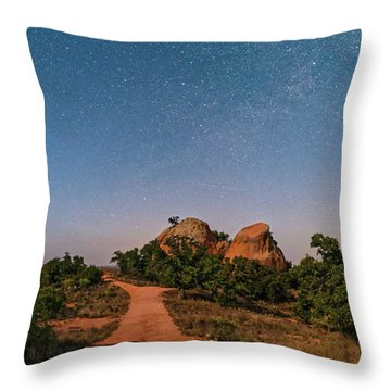 Moonlit Landscape At Enchanted Rock State Natural Area - Fredericksburg Texas Hill Country Throw Pillow