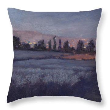 Moonlit Lavender Fields Throw Pillow by Jane Thorpe
