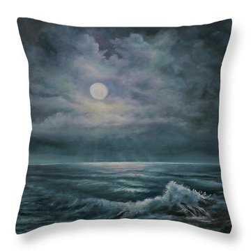 Throw Pillow featuring the painting Moonlit Seascape by Katalin Luczay