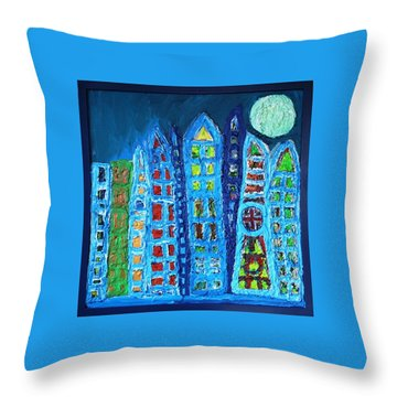 Moonlit Metropolis Throw Pillow