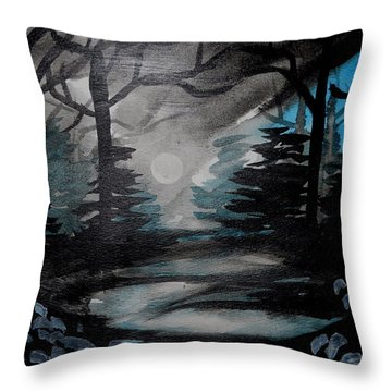 Moonlit Midnight Forest Throw Pillow by Carol Crisafi
