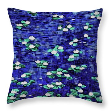 Moonlit Nymphaea Throw Pillow