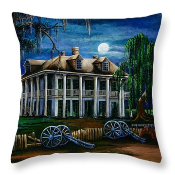 Moonlit Plantation Throw Pillow by Elaine Hodges