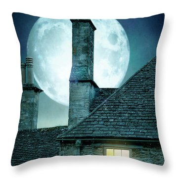 Moonlit Rooftops And Window Light  Throw Pillow