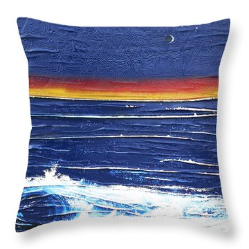 Moonlit Seascape Throw Pillow by Angela Stout