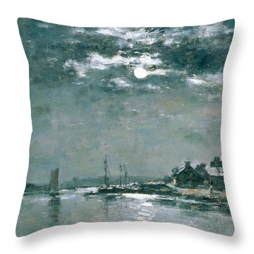 Moonlit Seascape Throw Pillow by Eugene Louis Boudin