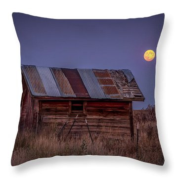 Moonlit Shed Throw Pillow by Brad Stinson