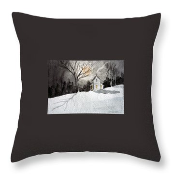 Moonlit Snow Throw Pillow