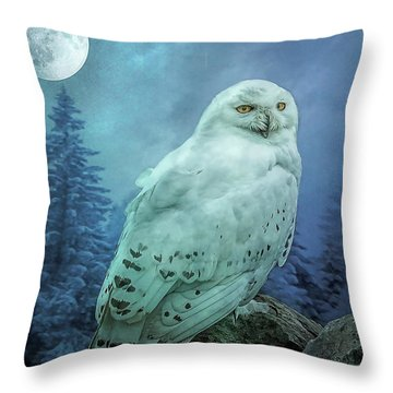 Moonlit Snowy Owl Throw Pillow