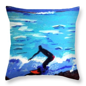 Moonlit Surf Throw Pillow