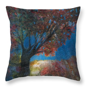 Moonlit Tree Throw Pillow by Denise Hoag