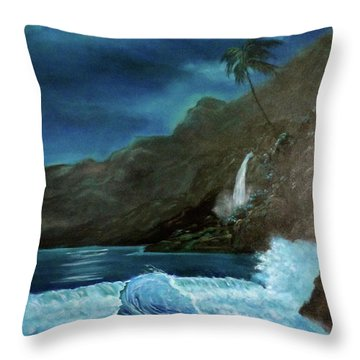 Moonlit Wave Throw Pillow