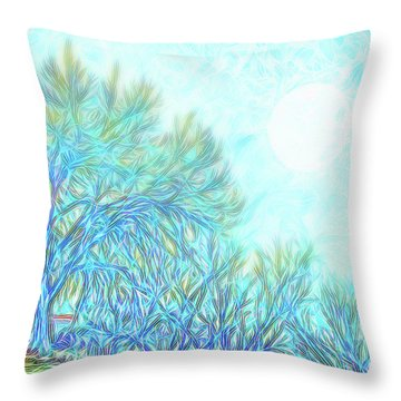 Throw Pillow featuring the digital art Moonlit Winter Trees In Blue - Boulder County Colorado by Joel Bruce Wallach