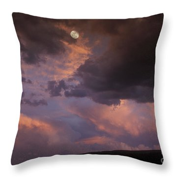 Moonrise And Sunset Throw Pillow by Sandra Bronstein