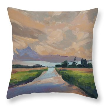 Moonrise And Windmill In The Polder Throw Pillow