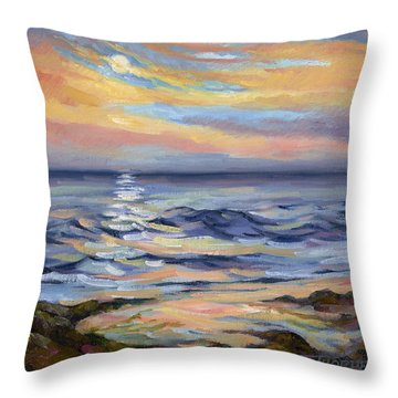 Moonrise At Cabrillo Beach Throw Pillow by Jane Thorpe