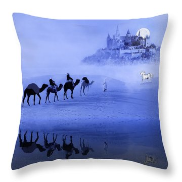 Moonrise At The Magical Oasis Throw Pillow
