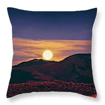 Moonrise In Northern New Mexico  Throw Pillow