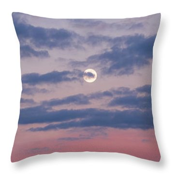 Moonrise In Pink Sky Throw Pillow