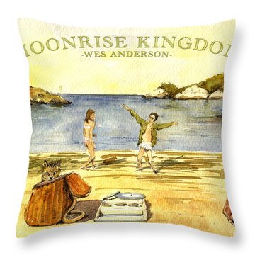 Moonrise Kingdom Poster From Watercolor Throw Pillow