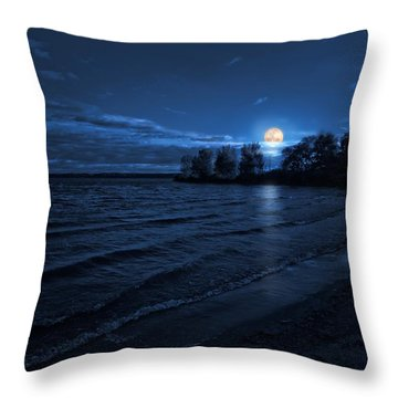Moonrise On The Beach Throw Pillow