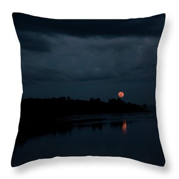 Moonrise Over Blue Hill Bay Throw Pillow by Greg DeBeck