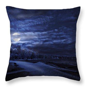 Moonrise Over Pymatuning Lake Throw Pillow