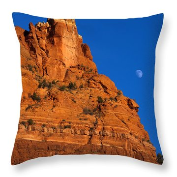 Moonrise Over Red Rock Throw Pillow