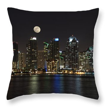 Moonrise Over San Diego Throw Pillow by Sandra Bronstein