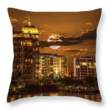 Throw Pillow featuring the photograph Moonrise Over Sarasota by Richard Goldman