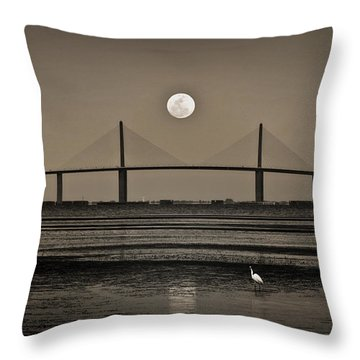 Moonrise Over Skyway Bridge Throw Pillow