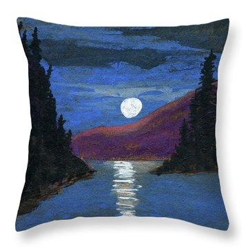 Moonrise Over Strait Throw Pillow
