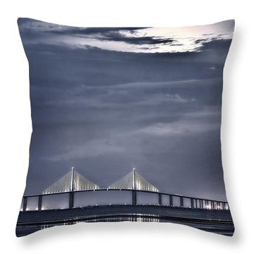 Moonrise Over Sunshine Skyway Bridge Throw Pillow