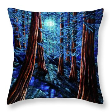 Moonrise Over The Los Altos Redwood Grove Throw Pillow by Laura Iverson