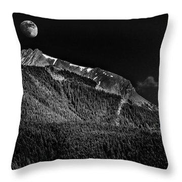 Moonrise Over The Rockies Throw Pillow