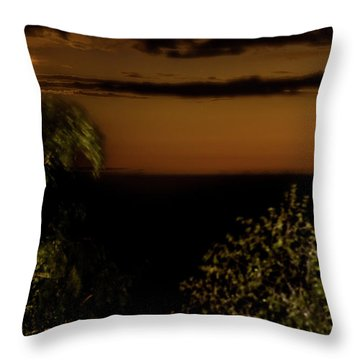 Throw Pillow featuring the photograph Moonset At Bay Harbor by Onyonet  Photo Studios