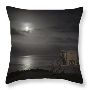 Moonset At Carlsbad Throw Pillow