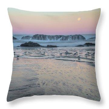 Moonset At Seal Rock Throw Pillow
