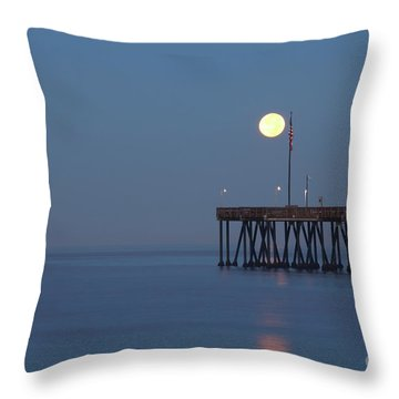 Moonset At The Ventura Pier Throw Pillow