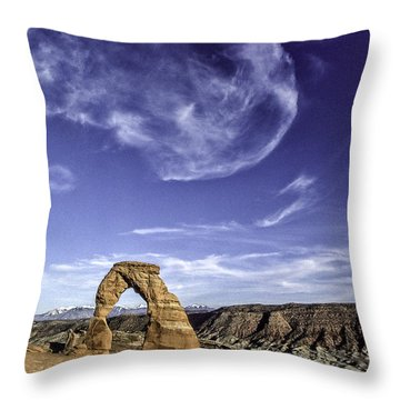 Moonset Delicate Arch Throw Pillow