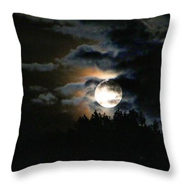 Moonset In The Clouds 2 Throw Pillow