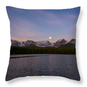 Throw Pillow featuring the photograph Moonset On Bierstadt Lake by Aaron Spong