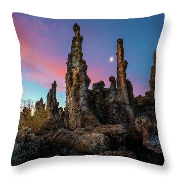 Moonset Over Mono Lake Throw Pillow