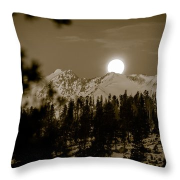 moonset over the Rockies Throw Pillow