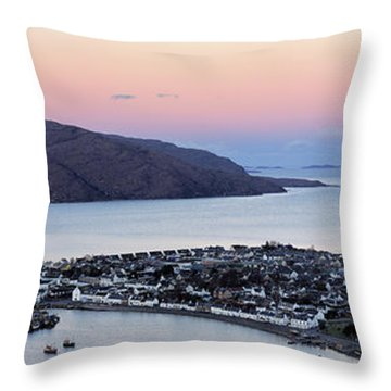 Throw Pillow featuring the photograph Moonset Sunrise Over Ullapool by Grant Glendinning
