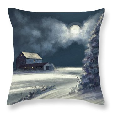 Throw Pillow featuring the digital art Moonshine On The Snow by Lois Bryan