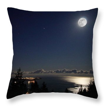 Moonshine Over English Bay Throw Pillow